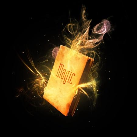 black magic: Closed magic book amazing colorful light rays and streaks. Stock Photo