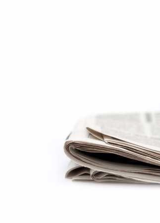 Folded newspaper, close up image photo