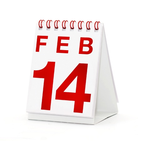 number 14: Small table calendar showing the date 14th of February, the VAlentines Day.