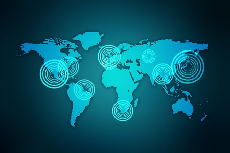 north china: Computer generated abstract world map, business and communication concept Stock Photo