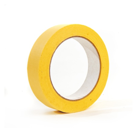 masking tape: Large roll of masking or duct tape over a white background