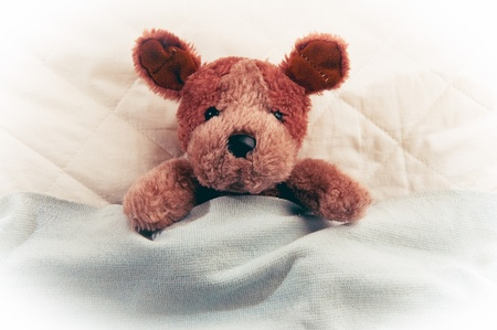 Cute little teddy bear laying in bed and sleeping photo