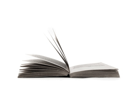 hardcovers: Big open book over a white background Stock Photo