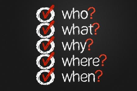 Een eenvoudige vragenlijst met vragen Wie, Wat, Waar, waarom en wanneer de hand geschreven op een schoolbord Dit is een computer gegenereerde afbeelding