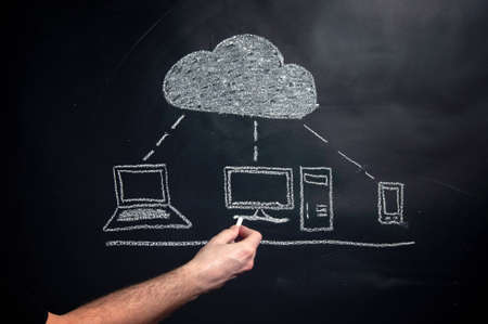 Cloud computing graphic scheme drawn with a chalk on a black board. photo