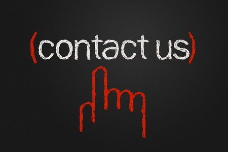 write us: Contact us icon, free hand drawing Stock Photo