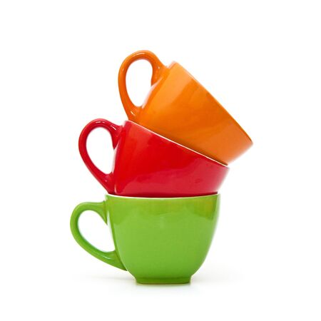 Colorful coffee mugs over a white background Stock Photo - 12916149