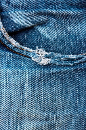 Closeup of the blue jeans pocket photo