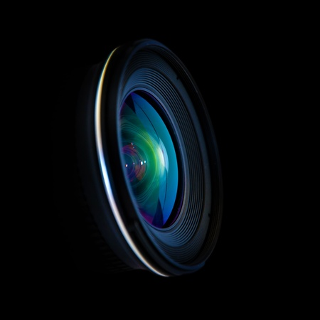 Close up image of a wide DSLR lens photo