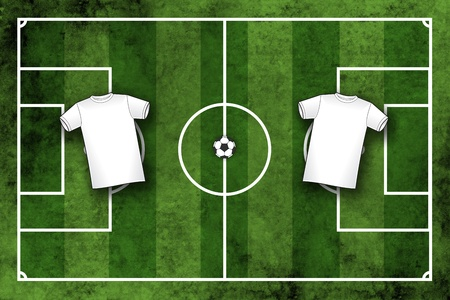 the national team: Grunge textured illustration of a football pitch or soccer field with blank white sport shirts which can beoverlayed with your design or club or national team colors