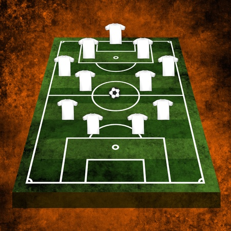 tactics: 3d Grunge textured illustration of a football pitch or soccer field.