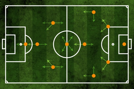 tactics: Grunge textured illustration of a football pitch or soccer field with team formation Stock Photo