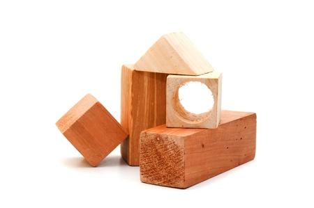 infant school: Kids wooden puzzle, image is taken over a white background.