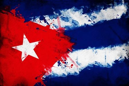 bandera de cuba: Grunge bandera cubana, la imagen es la superposición de una textura sucia detallada