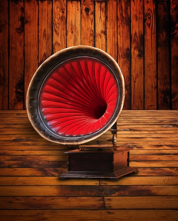 phonograph: Old gramophone in a vintage woodenroom Stock Photo