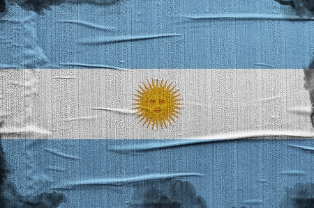 overlaying: Flag of Argentina, image is overlaying a grungy texture  Stock Photo