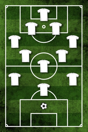 Grunge textured illustration of a football pitch or soccer field with four-three-three formation