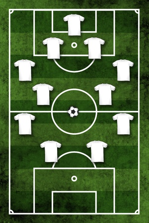Grunge textured illustration of a football pitch or soccer field with four-four-two formation illustration