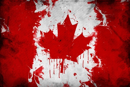 Grunge Canada flag, image is overlaying a detailed grungy texture photo