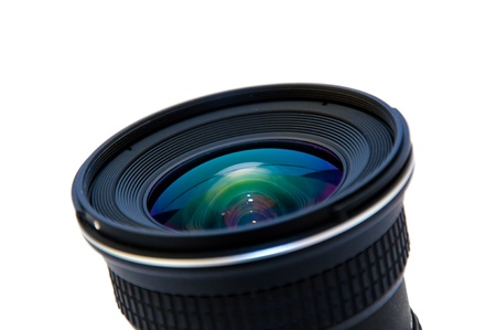 telephoto: Close up image of a wide DSLR lens