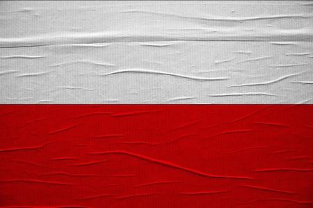 polish flag: Grunge Polish flag, image is overlaying a detailed grungy texture Stock Photo