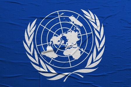 unicef: Grunge bandiera delle Nazioni Unite, l'immagine viene sovrapponendo una texture dettagliate grungy Editoriali