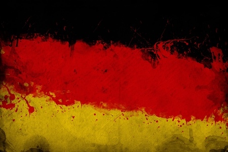 overlaying: Grunge German flag, image is overlaying a detailed grungy texture Stock Photo