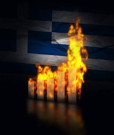 Greek ecomy crashes, burning graph charts against the flag of Greece photo