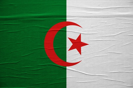 Flag of Algeria, image is overlayed over a grungy paper texture. Stock Photo - 13496112