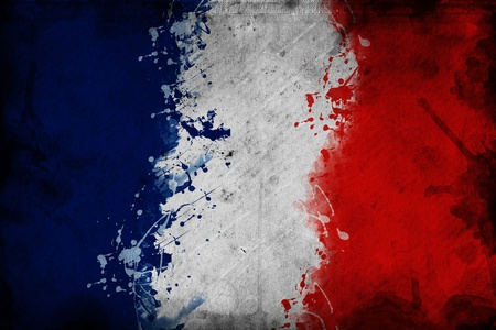 french symbol: Flag of France, image is overlaying a grungy texture.