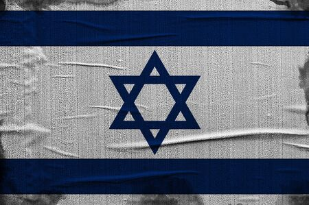 overlaying: Grunge flag of Israel, image is overlaying a detailed grungy texture