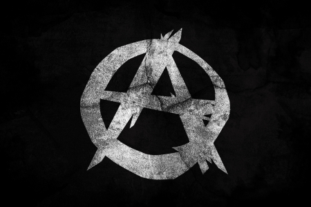 anarchism: Flag of the Anarchist movement on a grunge texture