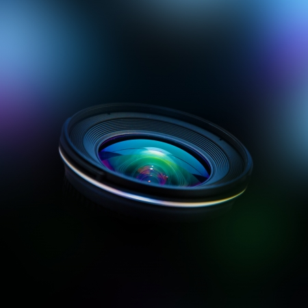 camera lens: Close up image of a wide DSLR lens
