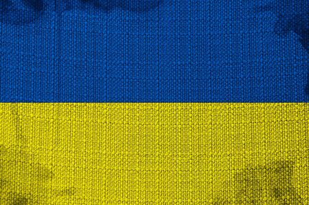 overlaying: Grunge flag of Ukraine, image is overlaying a detailed grungy texture Stock Photo
