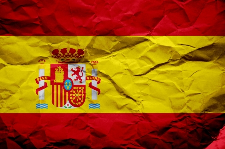 overlaying: Grunge Spanish flag, image is overlaying a detailed grungy texture Stock Photo