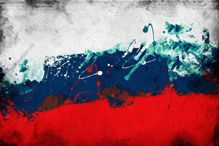 overlaying: Grunge Russian flag, image is overlaying a detailed grungy texture Stock Photo