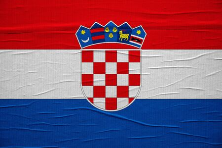 overlaying: Grunge Croatian flag, image is overlaying a detailed grungy texture Stock Photo