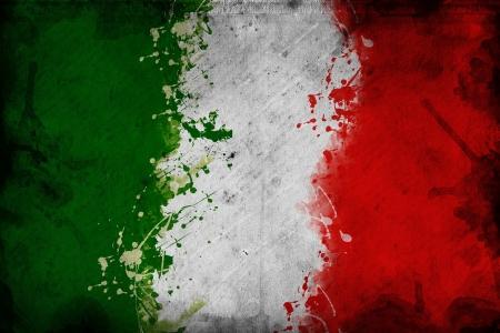 bandiera italiana: Bandiera d'Italia, l'immagine viene sovrapponendo una texture grungy Archivio Fotografico