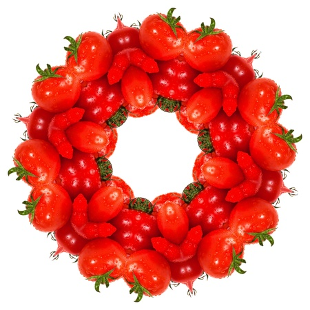 tomatos: kaleidoscope image of fresh organic red tomatos arranged over a white background