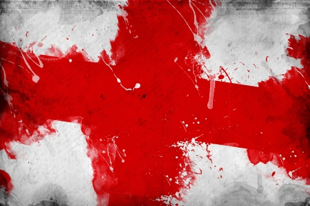 overlaying: Grunge English flag, image is overlaying a detailed grungy texture Stock Photo