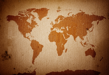 oversea: World map placed on a detaild scan of a grunge, dirty paper
