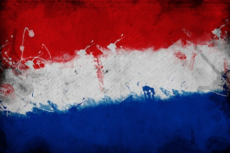 overlaying: Flag of Holland, image is overlaying a grungy texture  Stock Photo