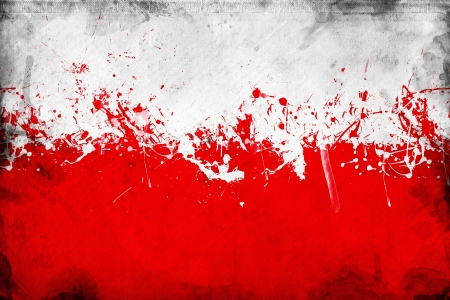 overlaying: Grunge Polish flag, image is overlaying a detailed grungy texture Stock Photo