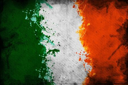 irish banner: Flag of Ireland, image is overlaying a grungy texture. Stock Photo