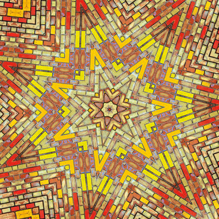 Abstract kaleidoscope background image, texture of a brick wall photo