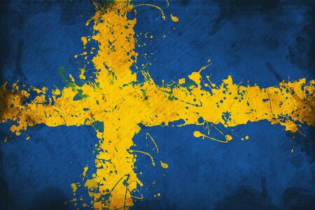 overlaying: Grunge flag of Sweden, image is overlaying a detailed grungy texture Stock Photo