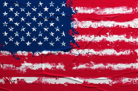 overlaying: Grunge flag of United States of America, image is overlaying a grungy texture Stock Photo