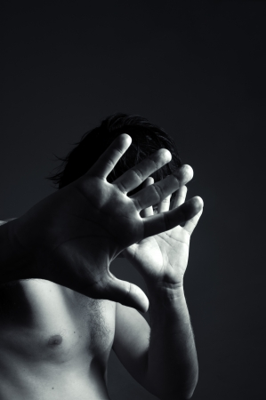 man defending himself, image can be used for domestic violence concept Stock Photo - 14180087
