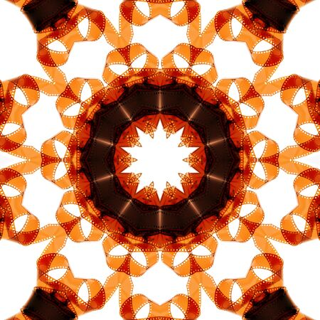 overexposed: Kaleidoscopic image of overexposed old camera film strip over a white background