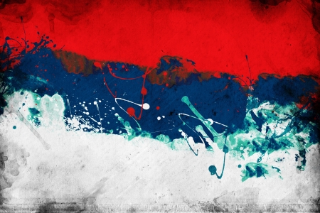 serbian: Grunge Serbian flag, image is overlaying a detailed grungy texture